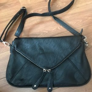Black pebbled leather cross body purse